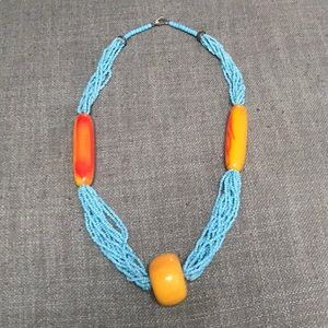 Orange and blue beaded necklace